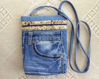 Handmade crossbody handbag, denim handbag, handmade pocketbook, messenger, purse, recycle, long strap shoulder, vintage denim