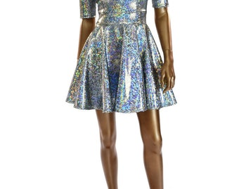 Silver Holographic Shattered Glass Half Sleeve Darted Bodice Metallic Skater Fit and Flare Party Dress   150003