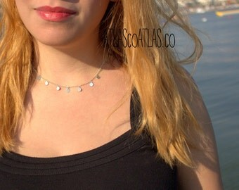 FREE EXPRESS Shipping in 3-5 days Tiny Sterling Silver  DISC Necklace - Silver disc necklace