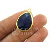 22mm Faceted Navy Blue Teardrop Jade Pendant, Bohemian Jewelry, Gold Plated Bezel, Turkish Jewelry