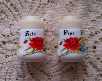 Pair of White Milk Glass Salt and Pepper Shakers with Red Poppy Floral Print - English German French Italian
