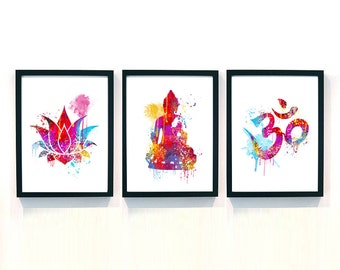 yoga gift, gift for yoga lovers, yoga gift ideas, watercolor om lotus buddha posters, yoga presents, housewarming gift for yoga lover ET105