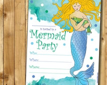Instant Printable Invitation Mermaid Theme - Instant Download DIY Printable Invite for Party