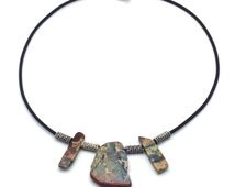 African Safari,Choker Necklace,African Opal,Opal,African,Statement Piece,Black Rubber,Sterling Silver,Gift for Her,Gift Idea,Nature,Organic