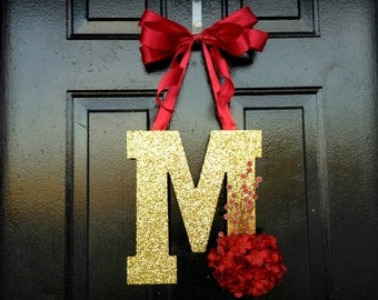 Gold glitter monogram for Christmas. Christmas door decor. Holiday decor. Holiday door wreath. Christmas monogram. door monogram.