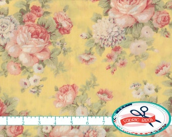 SHABBY ROSE Fabric by the Yard, Fat Quarter FLORAL Fabric Pink & Yellow Peony Fabric Shabby Chic Fabric 100% Cotton Fabric Quilt Fabric t1-6