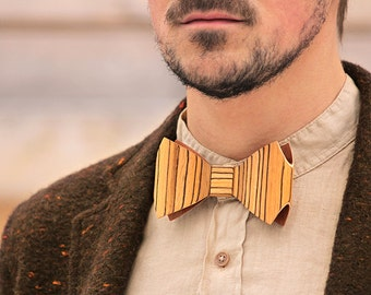 Wooden Bow Tie - Zebrawood / Gift for Men