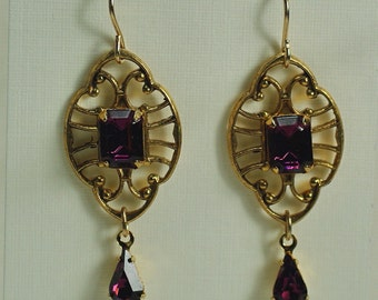 Art Deco Amethyst Earrings, Crystal Teardrop Earrings, Glamour Earrings, Gastby Earrings, Fashion Amethyst Earrings, Dressy Gold Earrings