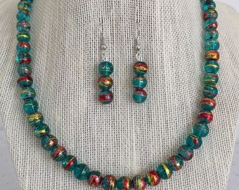 Teal Glass Beaded Necklace and Earring Set, Multicolored Necklace, Teal and Gold Necklace, Unique Jewelry, Teal Beaded Jewelry