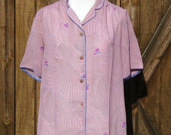 Vintage 70s Lilac Floral Blouse Medium
