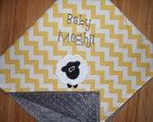 Lamb / Sheep - Custom Monogrammed Minky Baby Blanket - Yellow Chevron with Grey Minky
