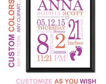 baby stats wall art, custom nursery art, personalized baby girl gift, baby girl room decor, birth print, baby announcement girl, baby decor