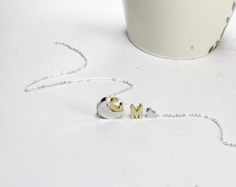 I Love You to the moon and back. ,Two Gold Initial Letter,Moon & Heart Neklace,Personalized Jewelry.Couple Necklace.His and hers Initials