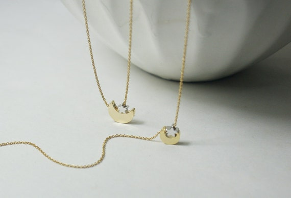 Big Brother Little Sister Necklace Set Gold Moon Star