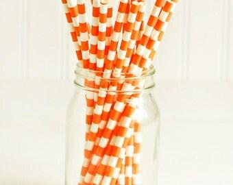 Paper Straws in Orange & White Sailor Stripes - Set of 25 - Bright Halloween Unique Pretty Wedding Birthday Party Shower Accessories Decor