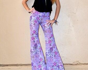 PAISLEY FLORAL PRINT lace purple lilac hippie boho dance beach resort yoga  festival burning man gypsy flare bell bottom pants