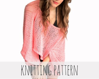 Loose Knit Shawl Pattern : PATTERN for Loose Knit Crochet Poncho Beach Cover Up Wrap Cape