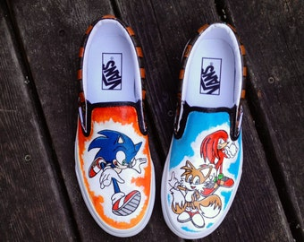 Sonic the Hedgehog Inspired Hand Painted Vans