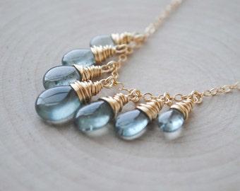 Gold Moss Aquamarine Necklace, Aquamarine Necklace, March Birthstone Necklace, March Birthstone Jewelry