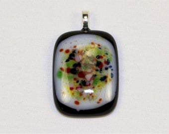 Handmade Fused Glass Pendant - Speckled Color Fused Glass Pendant