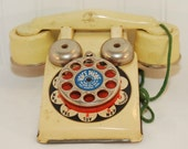 Vintage Gong Bell Toy Voice Phone, (c,1930's) The Gong Bell Mfg. Co, East Hampton CT, With Original Box, Yellow Toy Steel Phone, Gift Idea