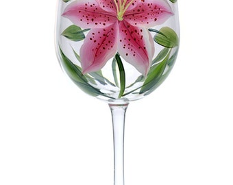 Hand-Painted Stargazer Lily Wine Glass