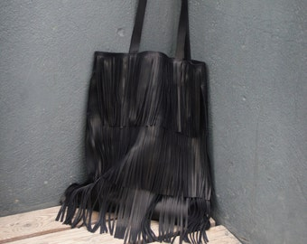 Black leather tote with fringes