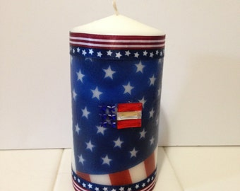 US Flag, Flag Decor, Patriotic Decor, Red White and Blue, Stars and Stripes, Gifts Under 20, Unscented Candles, Independence Day, Pillar
