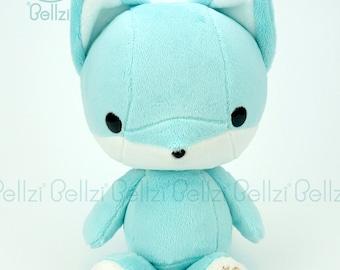 "Bellzi® Cute ""Teal"" w/ White Contrast Fox Stuffed Animal Plush - Foxxi"
