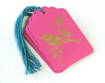 Gold Bird Gift Tag 6 Handmade Wedding Wish Tree Merchandise Tags Blank
