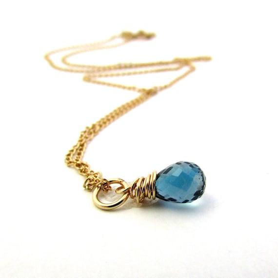 December birthstone jewelry London blue topaz necklace