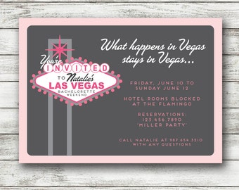Vegas Bachelorette Invitation - Las Vegas Bachelorette Invite - vegas bachelorette party - Printable