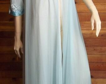 Vintage Lingerie 1960s GOSSARD ARTEMIS Blue Chiffon Peignoir or Robe Small