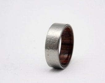 Hammered Titanium and Cocobolo wedding ring,  Wood wedding band