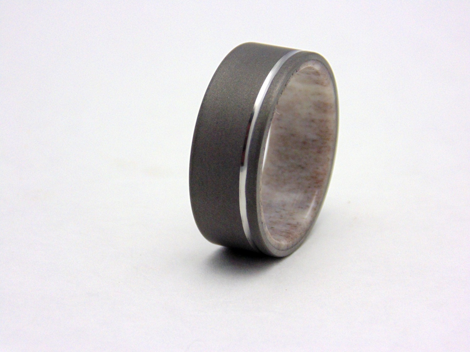 Antler Ring Mens Titanium And Elk Antler Wedding Ring