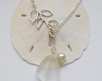 White Sea Glass Necklace, Charm necklace, Pearl, Silver Branch, bridesmaid necklace, beach wedding.  FREE SHIPPING within the U.S.