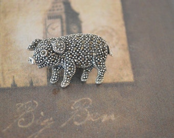 Baby Pig Brooch - Marcasite Brooch Pin - Vintage Animal Brooch Pin - Sterling Silver Lapel Brooch - Silver Jewelry