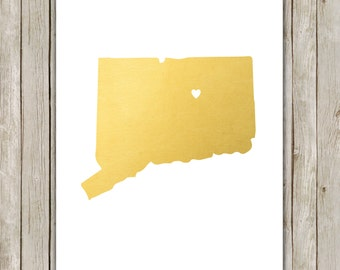 8x10 Connecticut State Print, Geography Art, Metallic Gold Art, Connecticut Poster, Office Art Print, Home Decor, Instant Digital Download