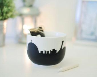 jumbo mug skyline of Montreal mount royal olympic stadium downtown chalkboard