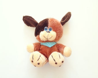 Vintage Puppy Plush with Blue Polka Dot Bandanna