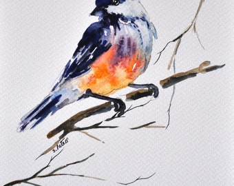 ORIGINAL Bird Watercolor Painting, Bird Illustration  6x8 inch