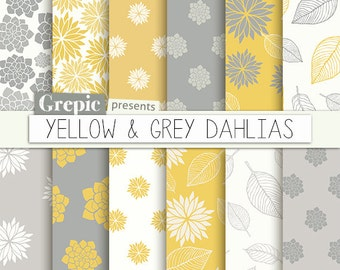 """Yellow grey floral: digital paper """"YELLOW & GREY DAHLIAS"""" clip art yellow floral patterns nature dahlias leaves   dahlia flowers backgrounds"""