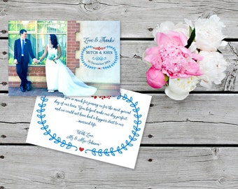 Wedding Thank You Printable Card with Wedding Photo