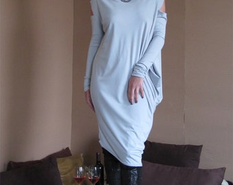 Futuristic chic fashion dress - Ice Gray Asymmetric, Draped, Relaxed Dress