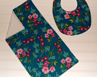 Floral Frenzy Collection - Bib & Burp Cloth Set