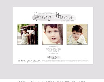 INSTANT DOWNLOAD, Spring Mini Session Photography Template, Marketing Template, Watercolor Summer, Photography Marketing Template, Modern