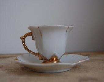 Vintage 1930s Tiny Gilded Teacup with Leaf Saucer Japanese