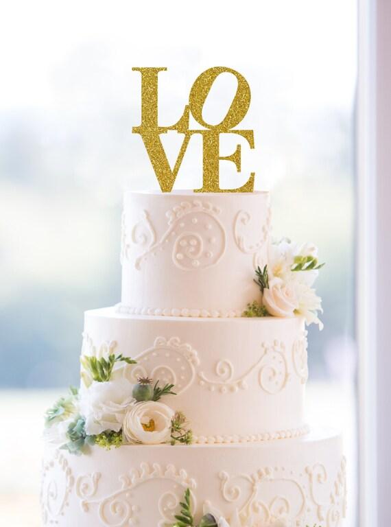 Love glitter cake topper