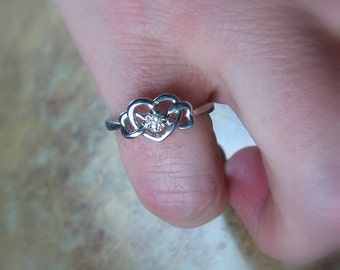 Size 5.5 Diamond Sterling Silver Promise - engagement ring, Ready to Ship
