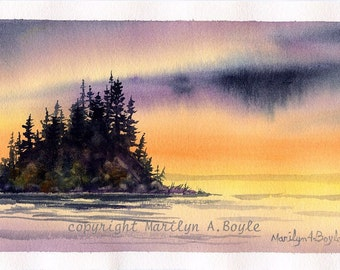 ORIGINAL WATERCOLOR PAINTING; art, lake, sunset, island, watercolor, trees, nature, Canadian art, wilderness, miniature art, 5 x 9 inches